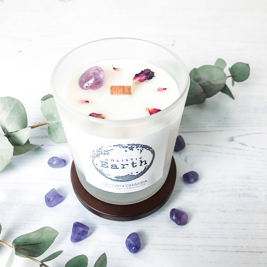 Crown Chakra Crystal Candle