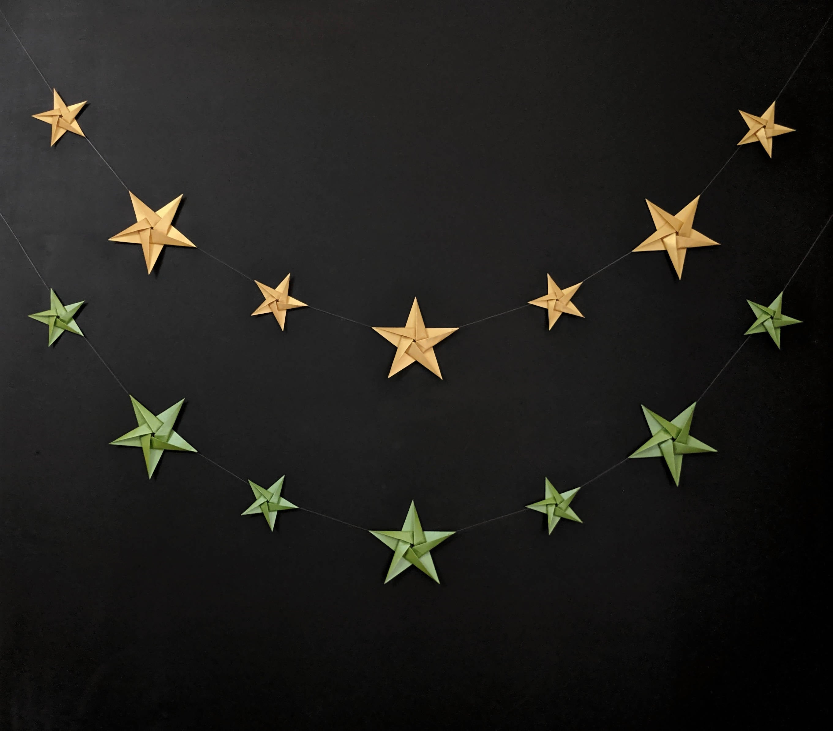 Origami Star Garland Christmas Decoration Metallic Paper Stars Bunting Bunting And So To Shop