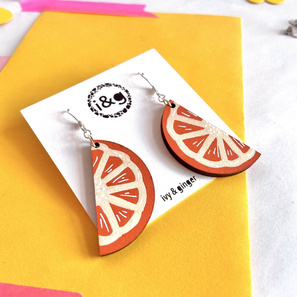 Orange Fruit Slice Drop Dangle Hand Painted Wooden Earrings