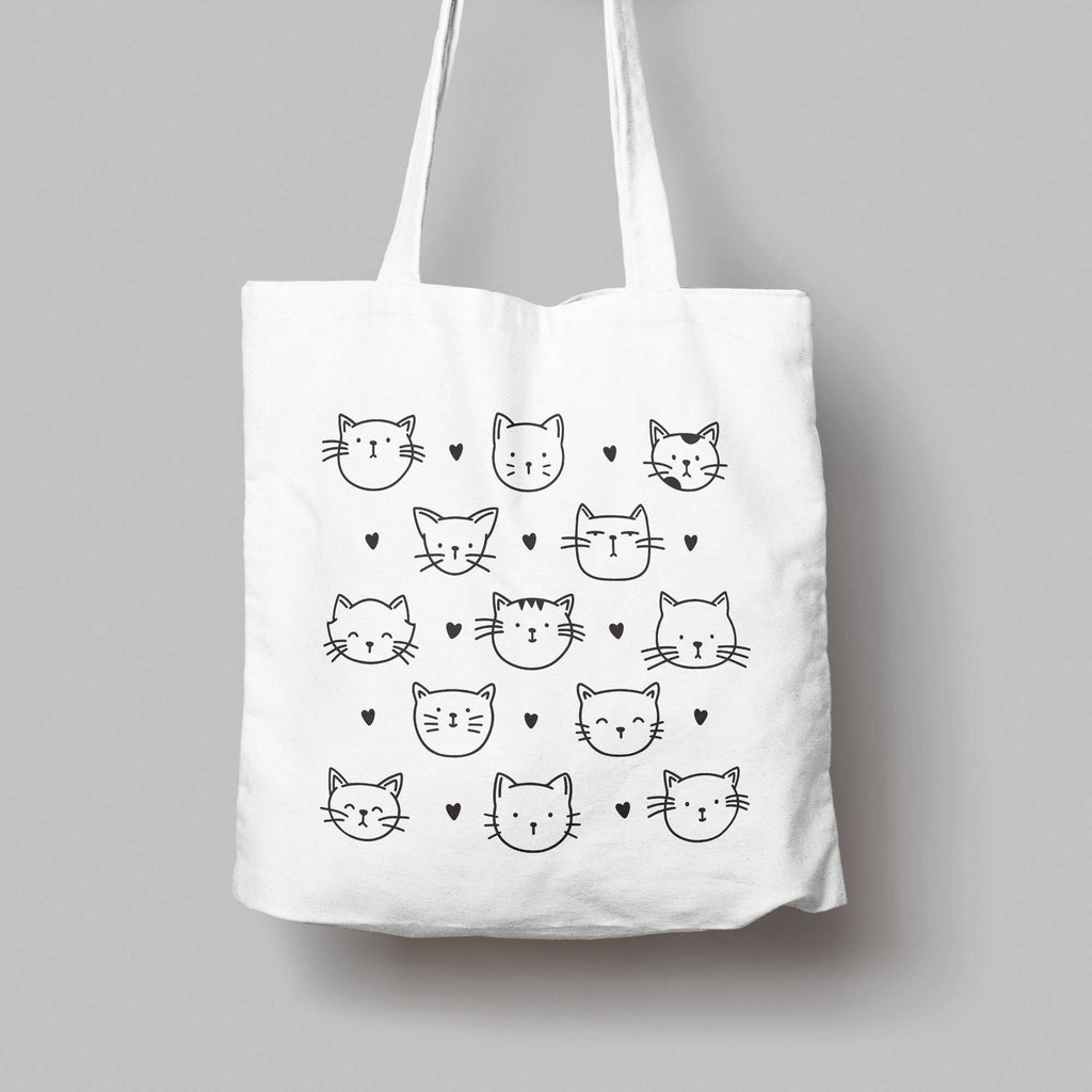 Cat Pattern Cotton Tote Bag