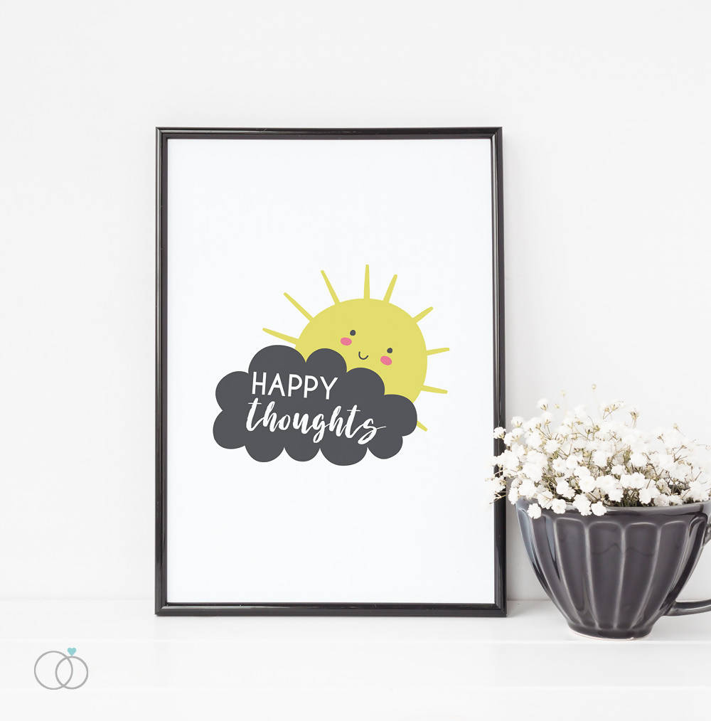Happy thoughts quote art print - Inspirational Quote Art - LoveLi