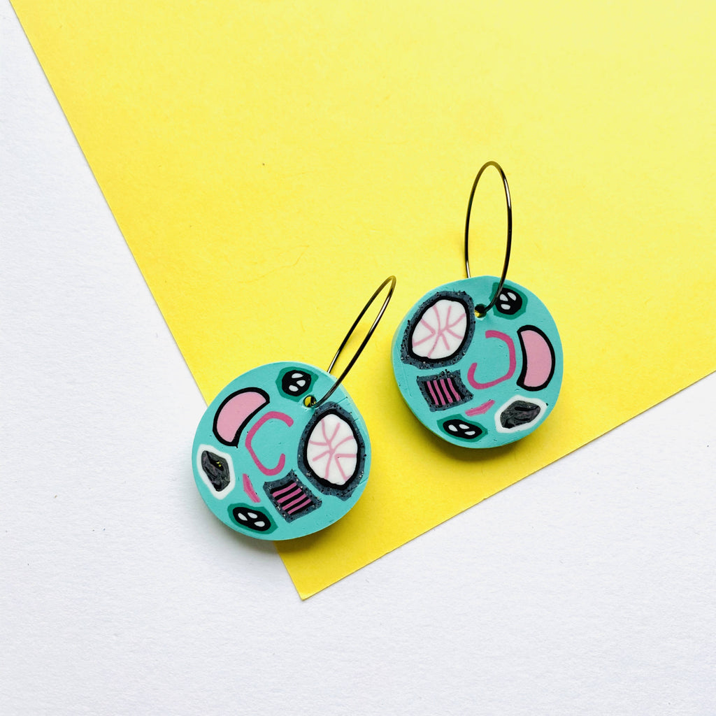 Colourful pattern hoop earring turquoise