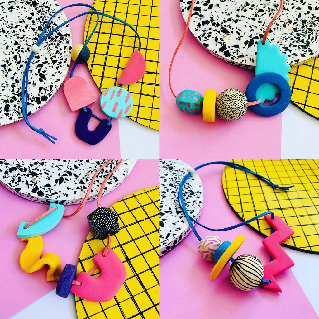 Chunky bright shape polymer clay necklace