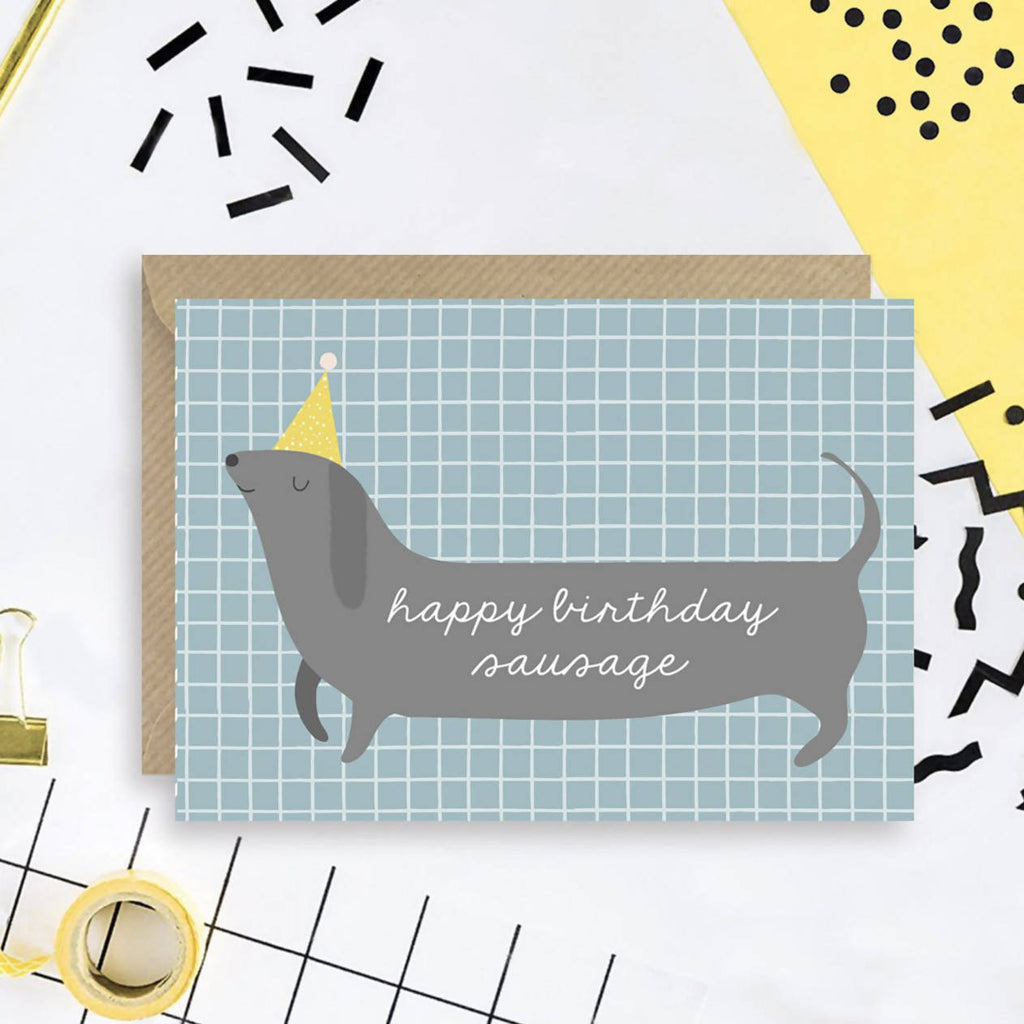 Happy birthday sausage A6 card
