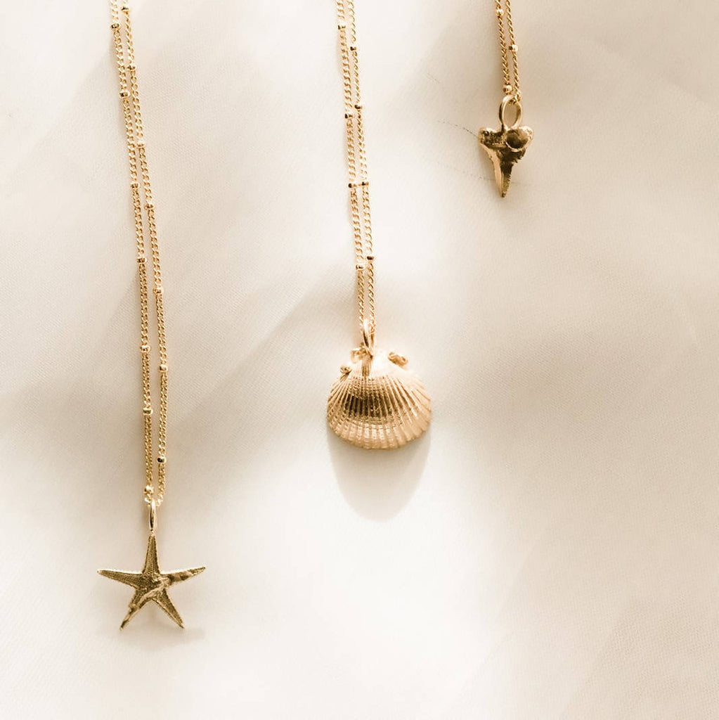 small gold seashell necklace