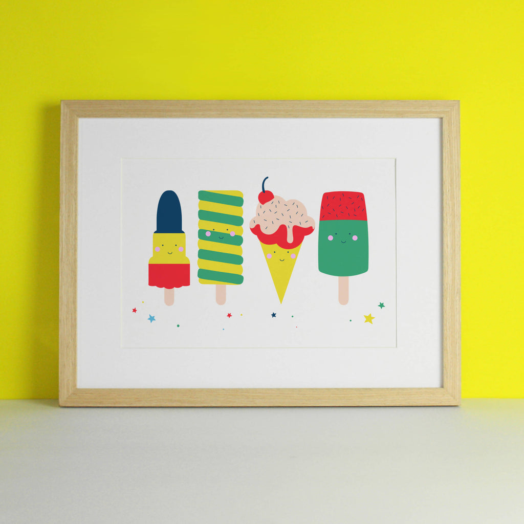 Ice Cream & Lollipop Bright Art Print