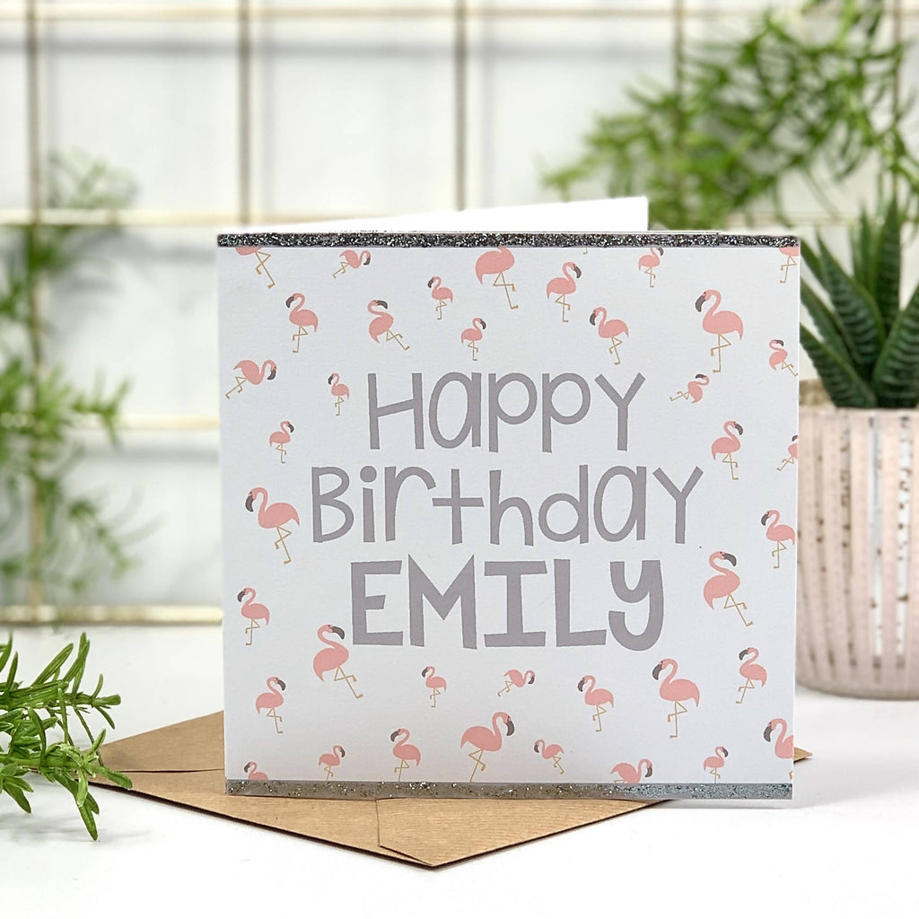 Grey Glitter Flamingo Birthday Card - PERSONALISE ME!