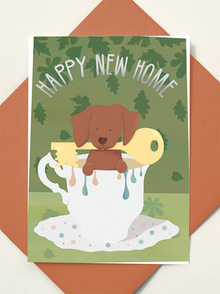 Greeting Card Happy New Home Dachshund Dog Teacup