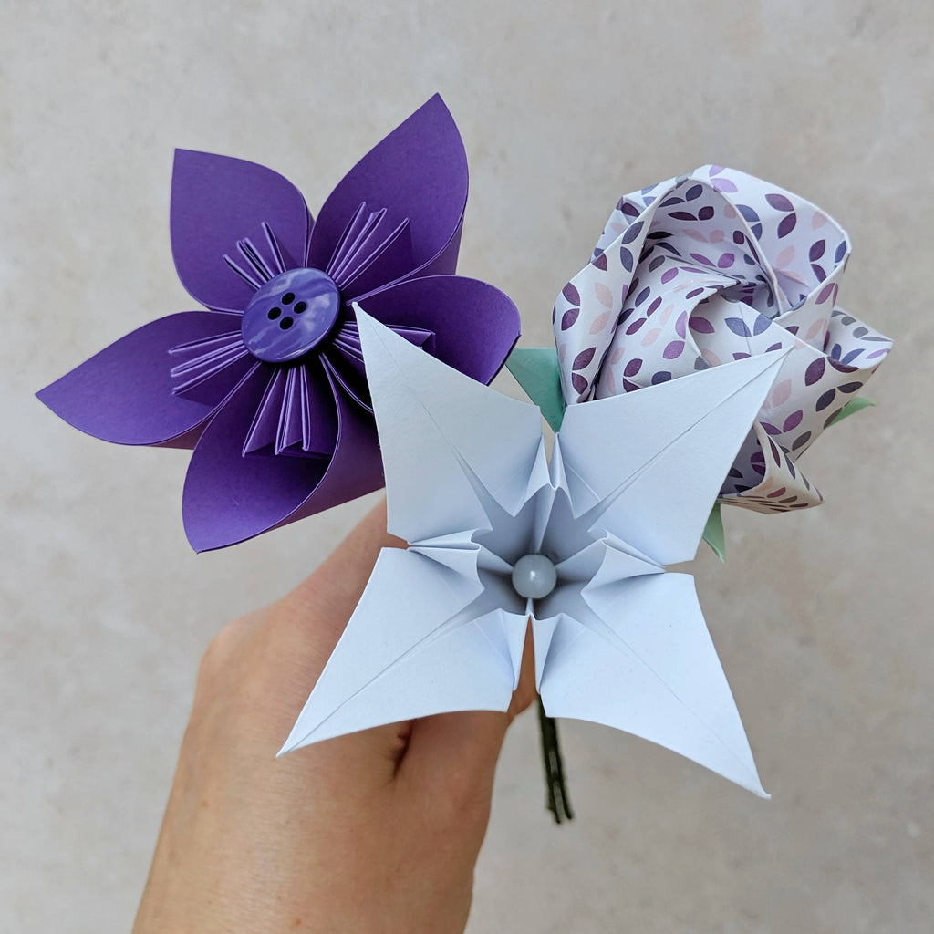 Purple and white origami bouquet, gift for teacher