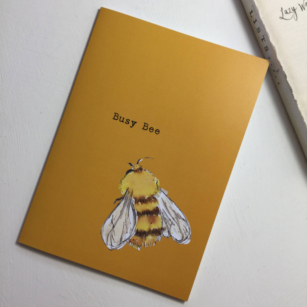 Busy Bee Orange Notebook - A5 Bumble Bee design from an original watercolour painting