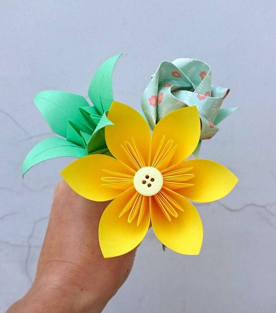 Yellow origami paper flower posy