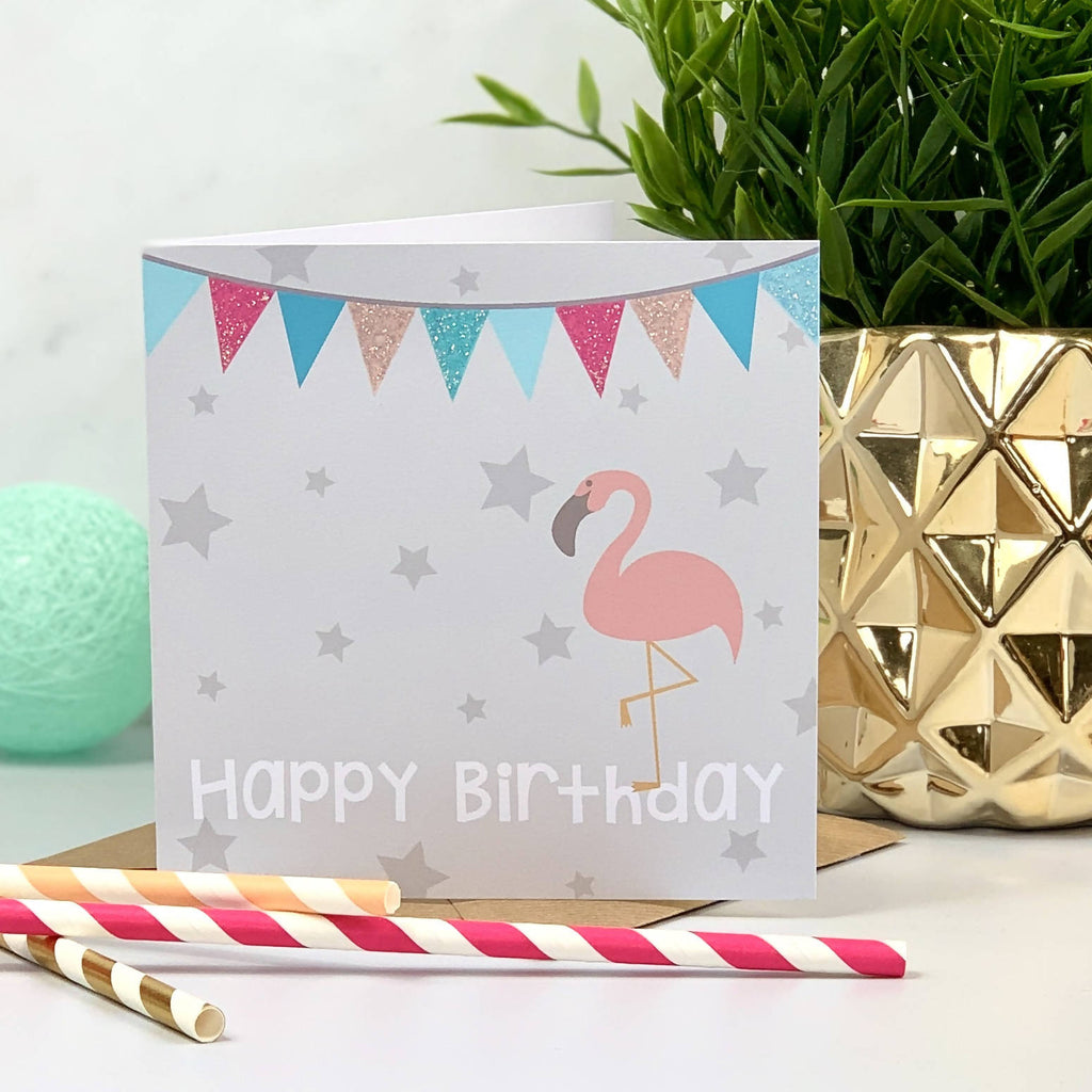 Bunting Glitter Birthday Flamingo Card - PERSONALISE ME!