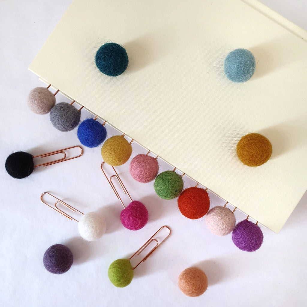 Custom Pom Pom Paperclips - Felt Ball Stationary Bookmarks