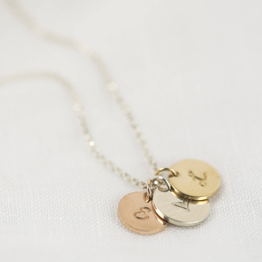 Trio Disc Personalised Necklace, Sterling Silver, Gold and Rose Gold