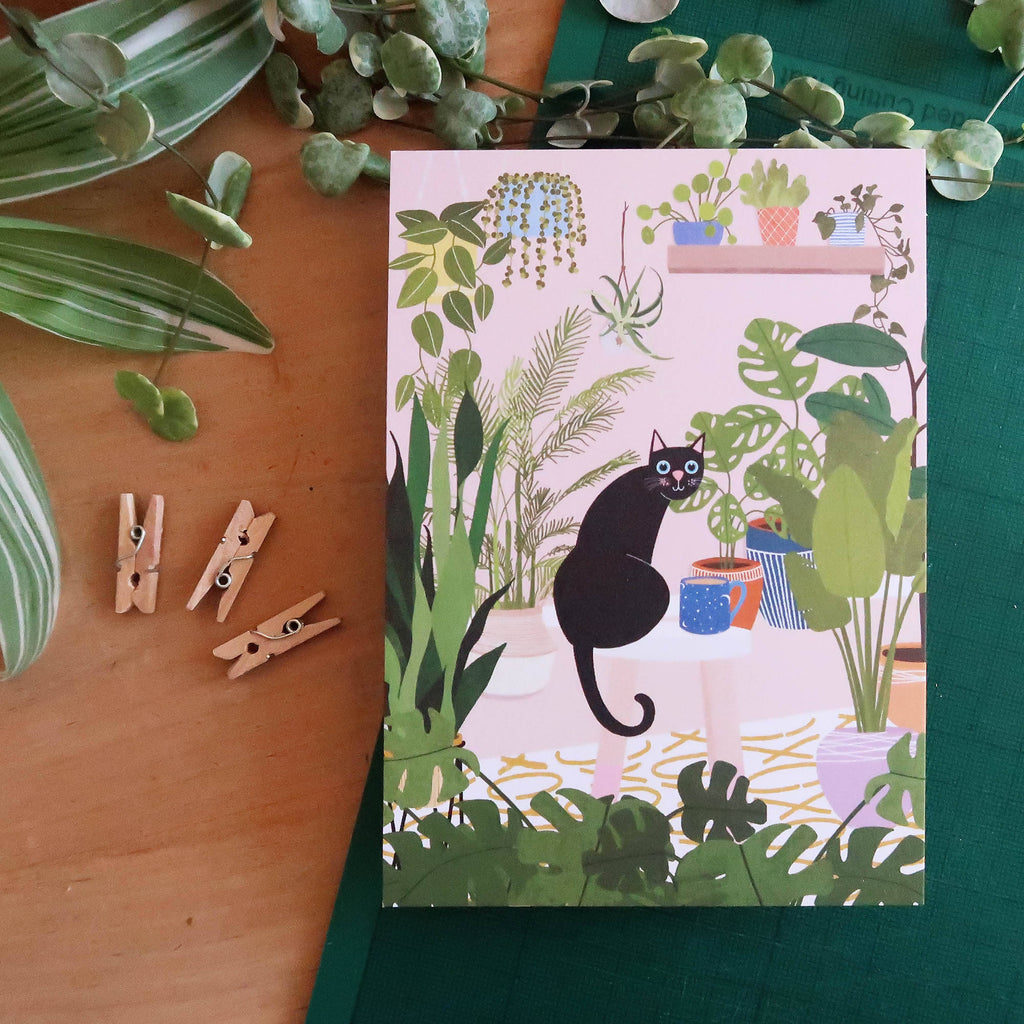 Planty Cat A6 Postcard - Cute Cats Collection