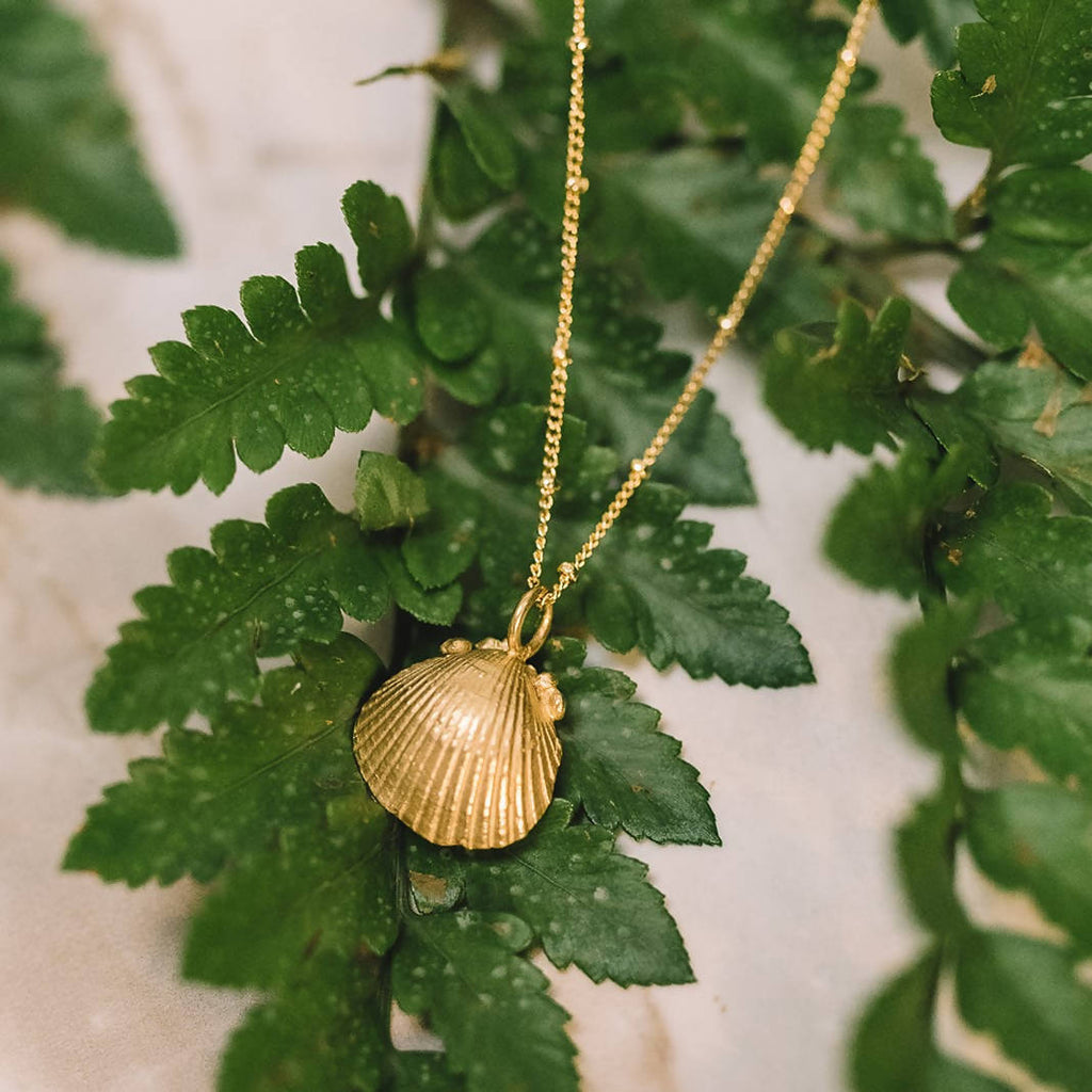 small gold seashell ocean necklace