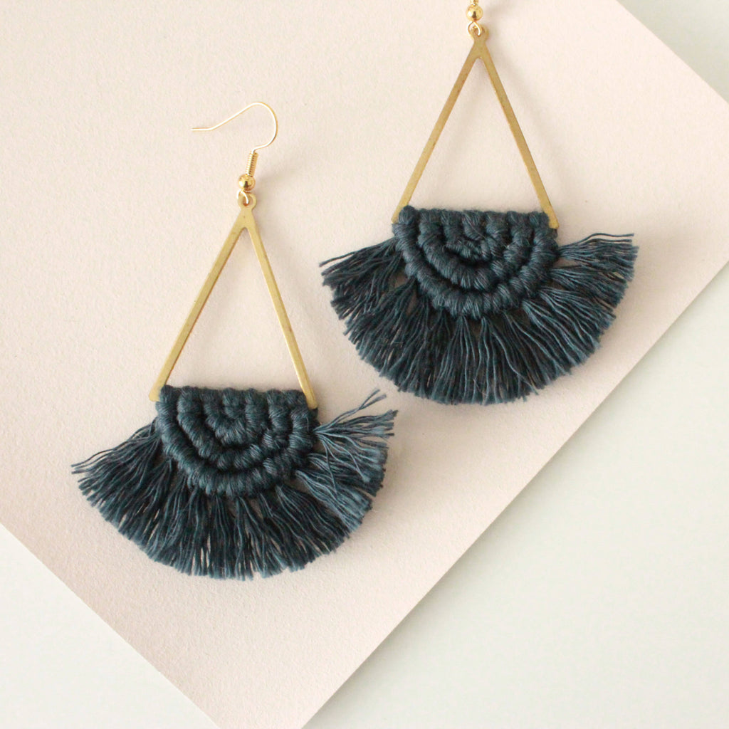 Macrame Scallop Statement Earrings