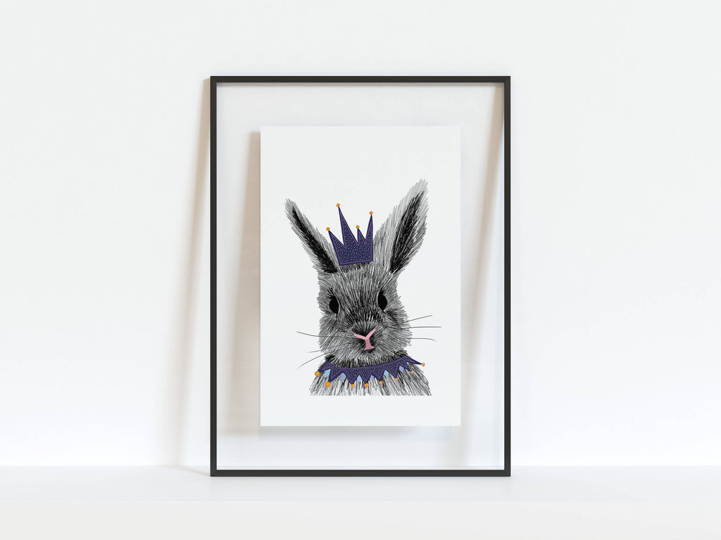 Rabbit Illustrated A4, A5 Print, Illustrated Animal Print