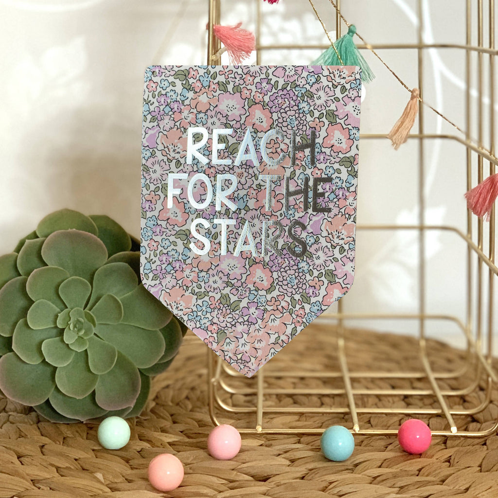 Reach For The Stars Liberty Print Silver Metallic Banner