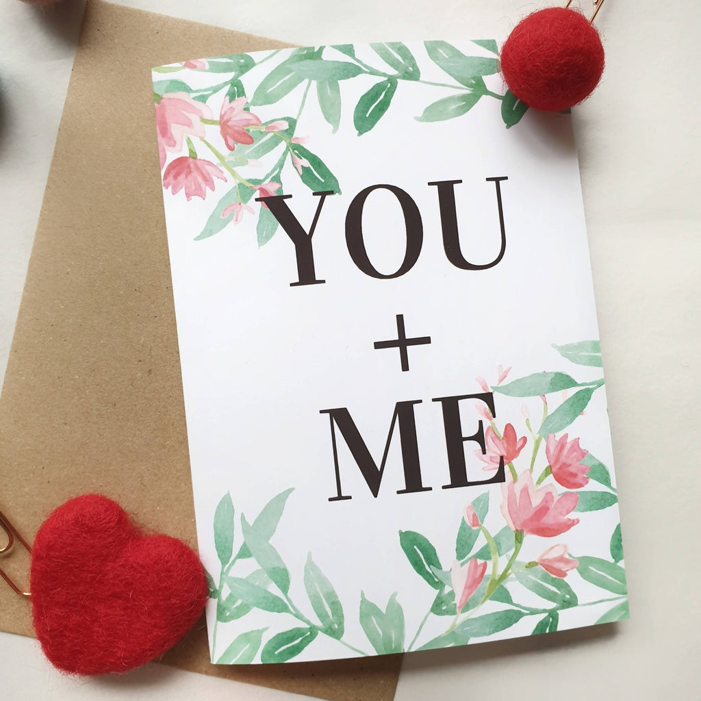You + Me - A6 Botanical Watercolour Greeting Card