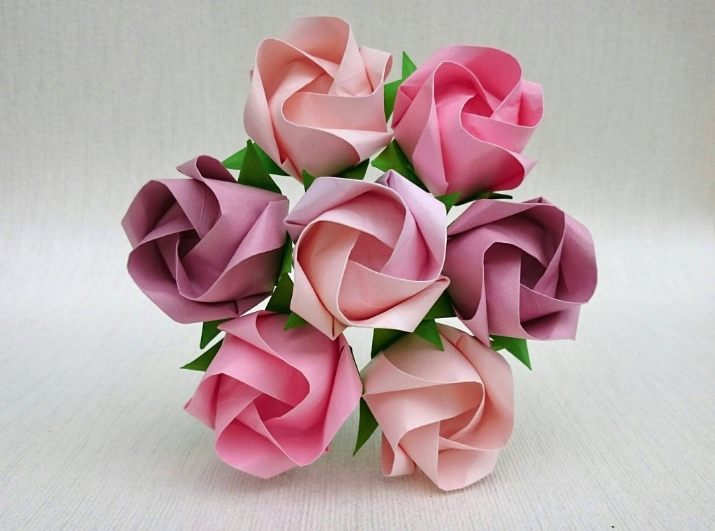Pink origami paper roses bouquet
