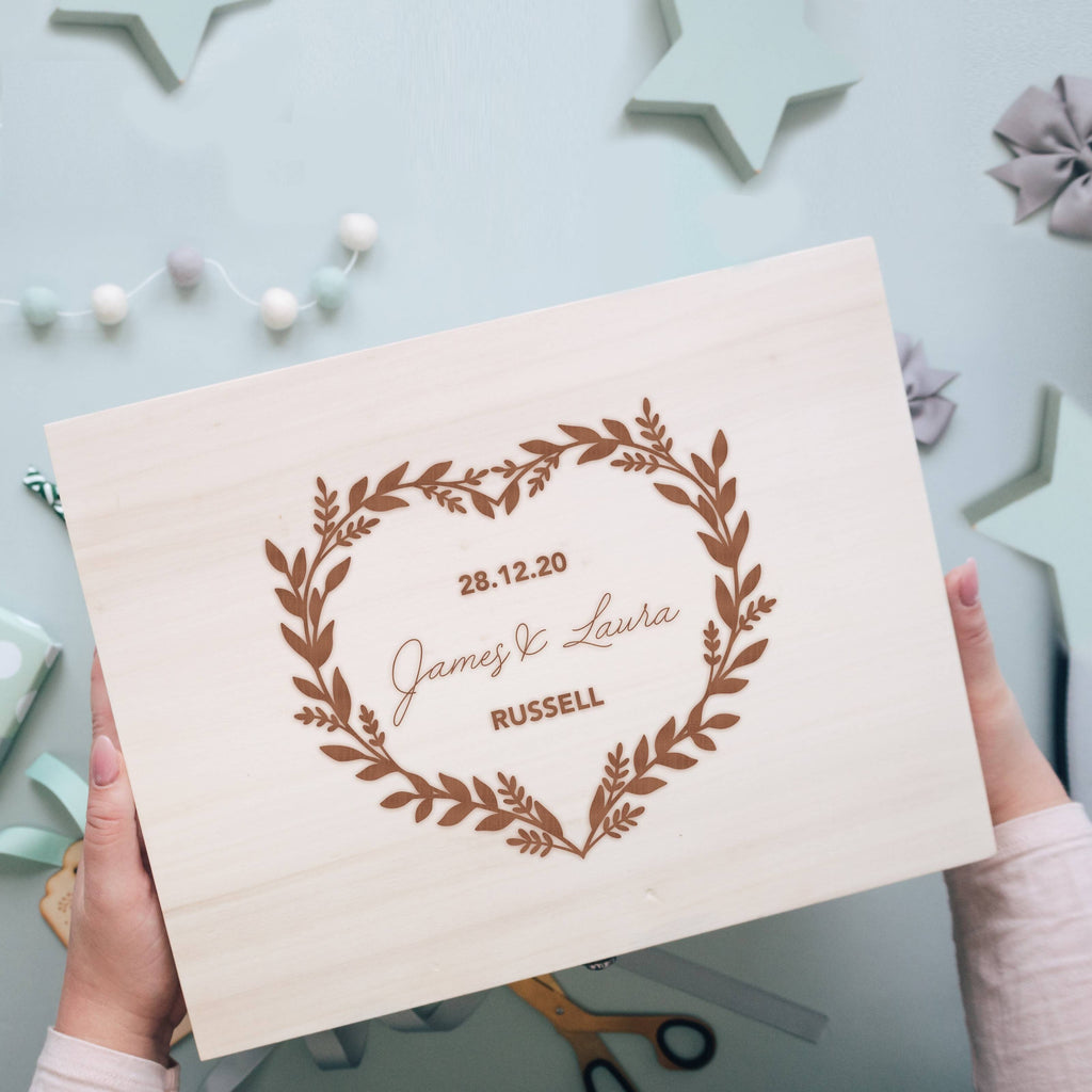Wooden Wedding Memory Box for Newlyweds featuring Floral Heart