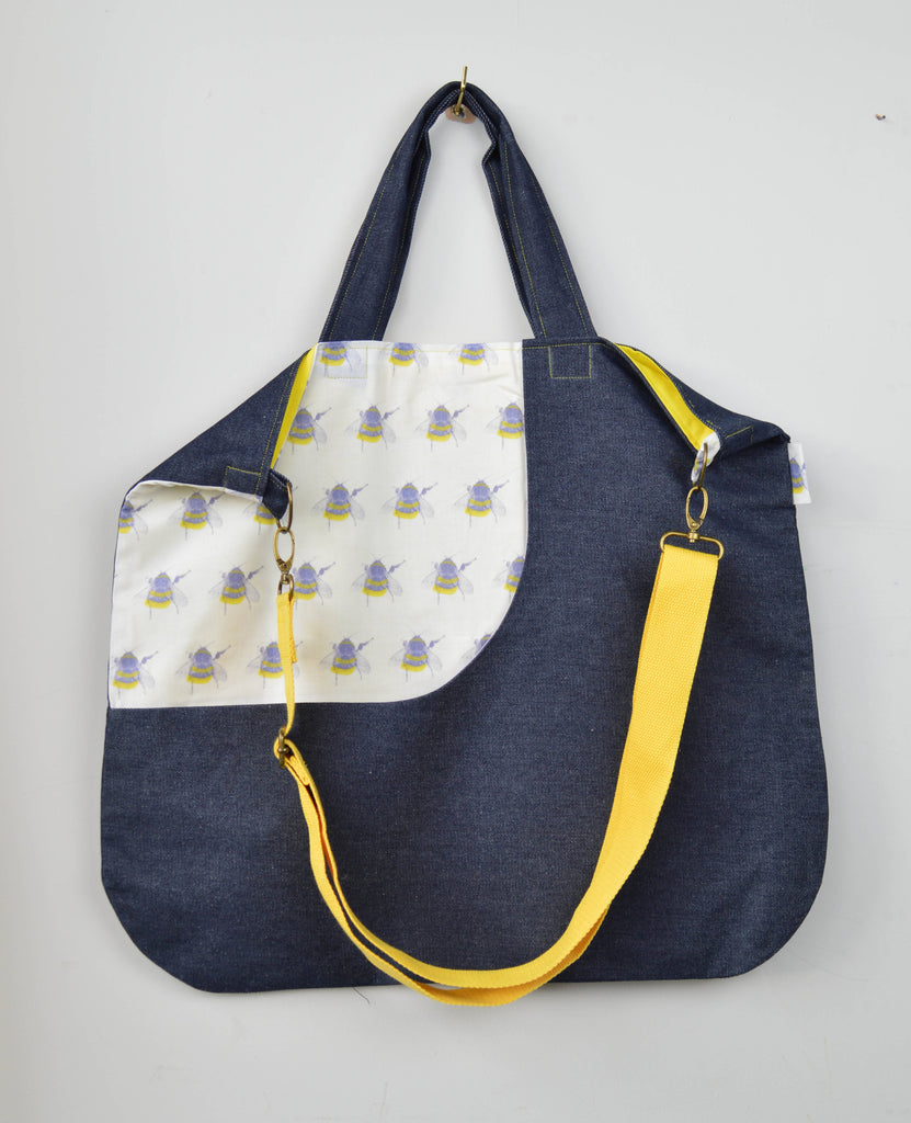 Extra large bee pattern tote bag