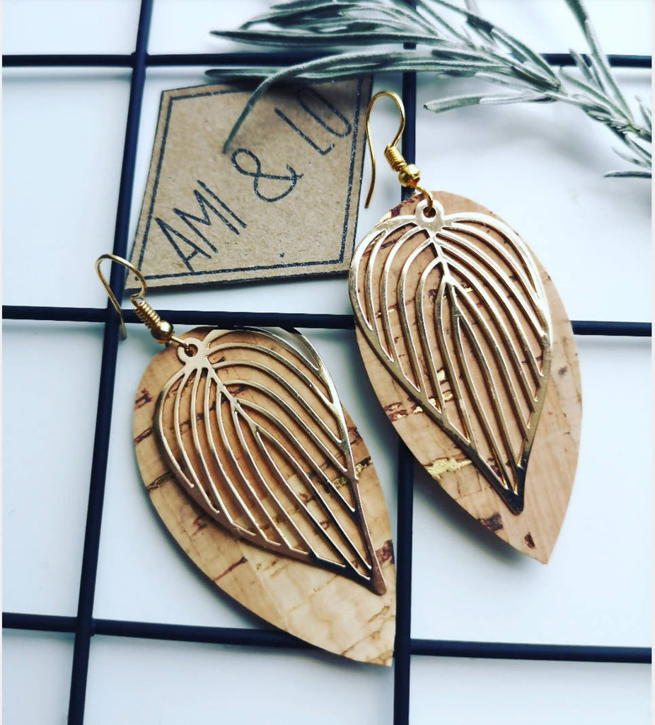 Cork leather Leaf design statement earrings, Ami and Lo, Andsotoshop