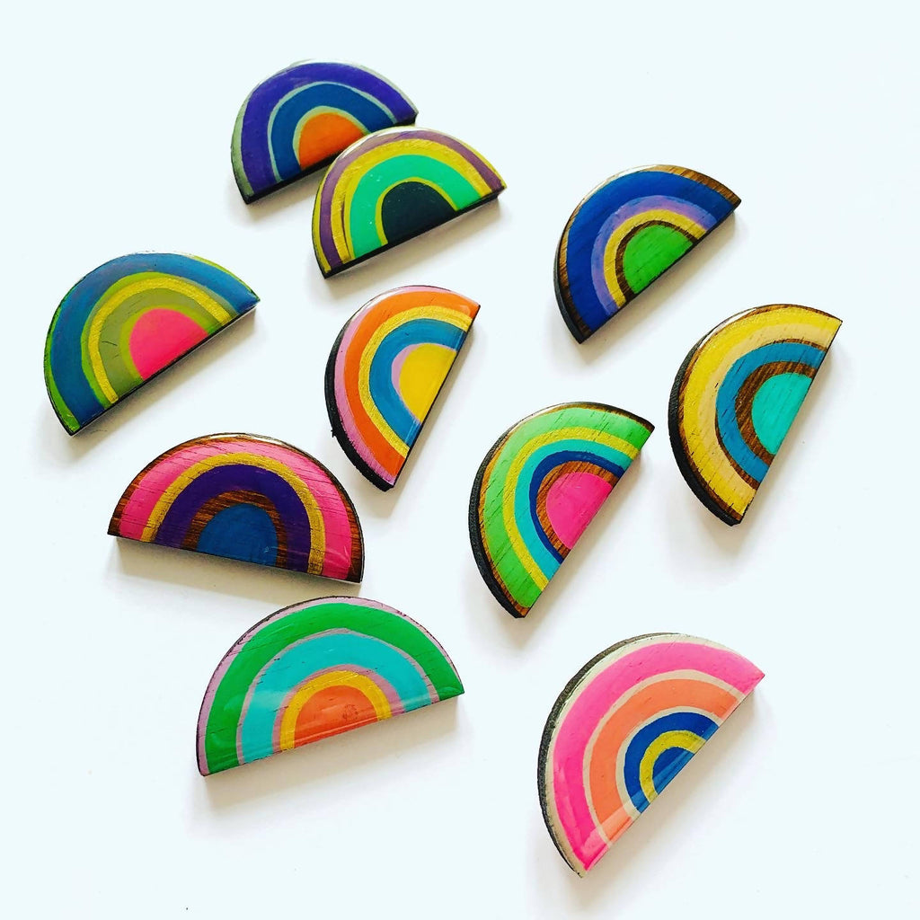 Colourful wooden rainbow badge
