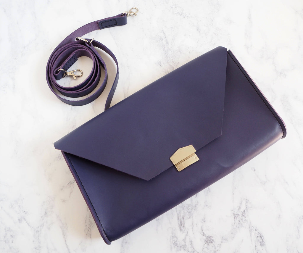 Purple 'Chloe' Leather Clutch Bag