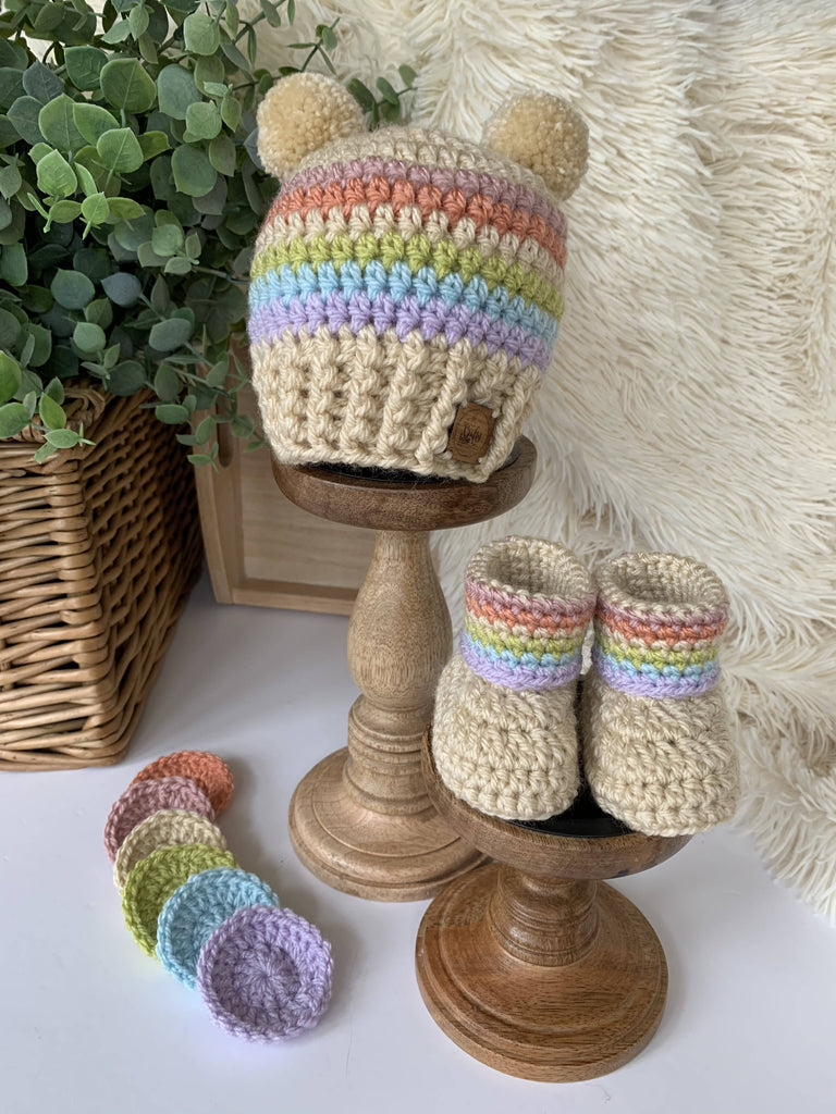 Crochet Vintage Rainbow Beanie Hat and Booties Set