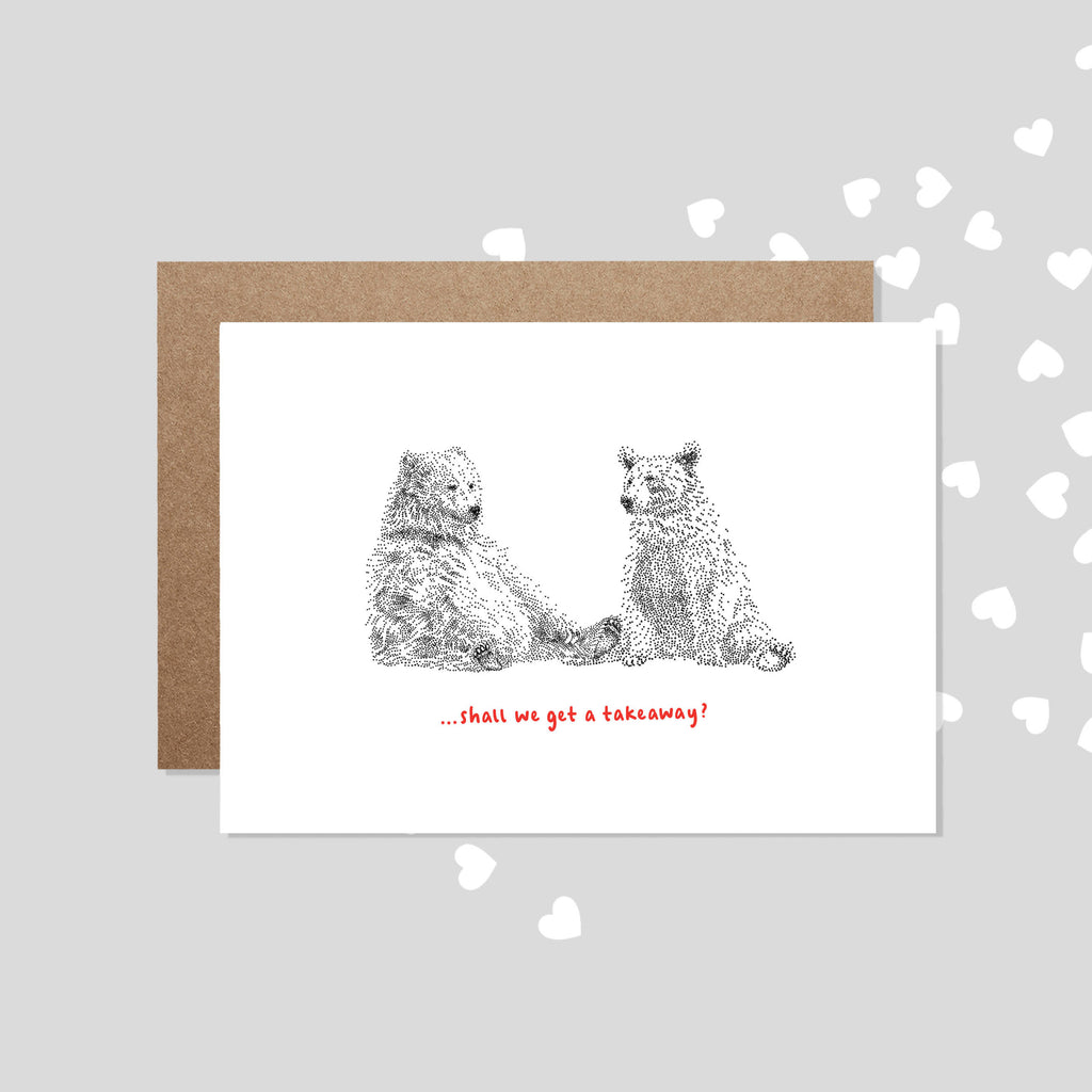 Shall we get a Takeaway? Funny Bear Valentine's Card / Couples Anniversary Card