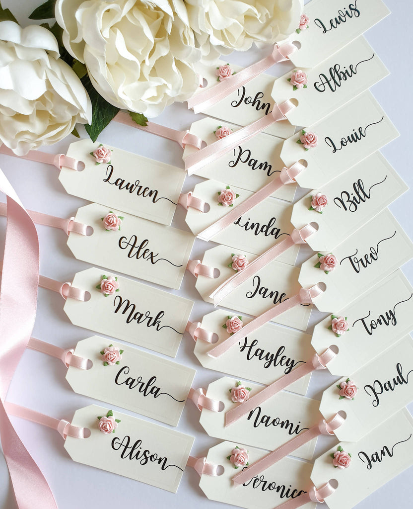 Wedding Place Cards in Cream and Blush Pink. Mini Tag Place Names