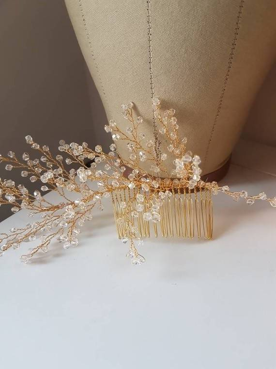 Gold Crystal Spray Bridal Comb Crystal Bridal Hairpiece gold hairpiece fashion wedding, gold hairpiece Art Deco wedding accessory bridal golden clear crystal hair comb