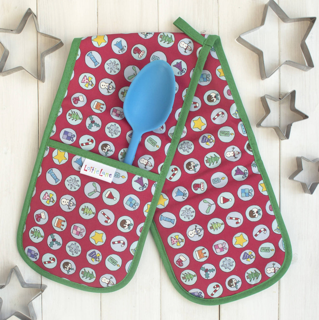 Christmas Fayre Double Oven Gloves