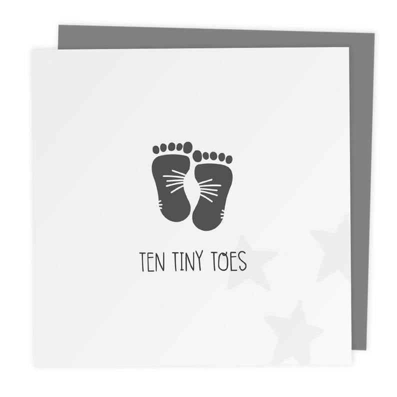 Ten Tiny Toes - New Baby Footprint Greeting Card