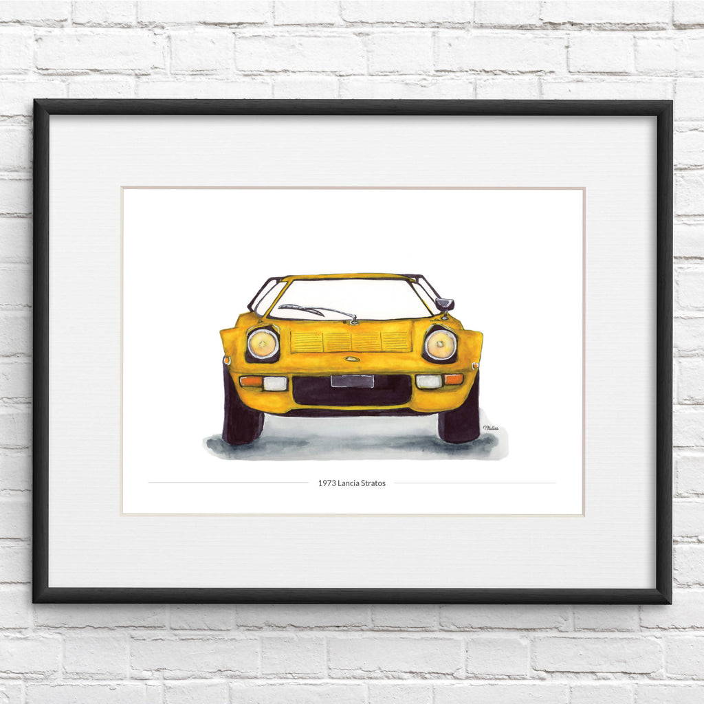 Lancia Stratos Front View Illustration Car Print - Personalised Option