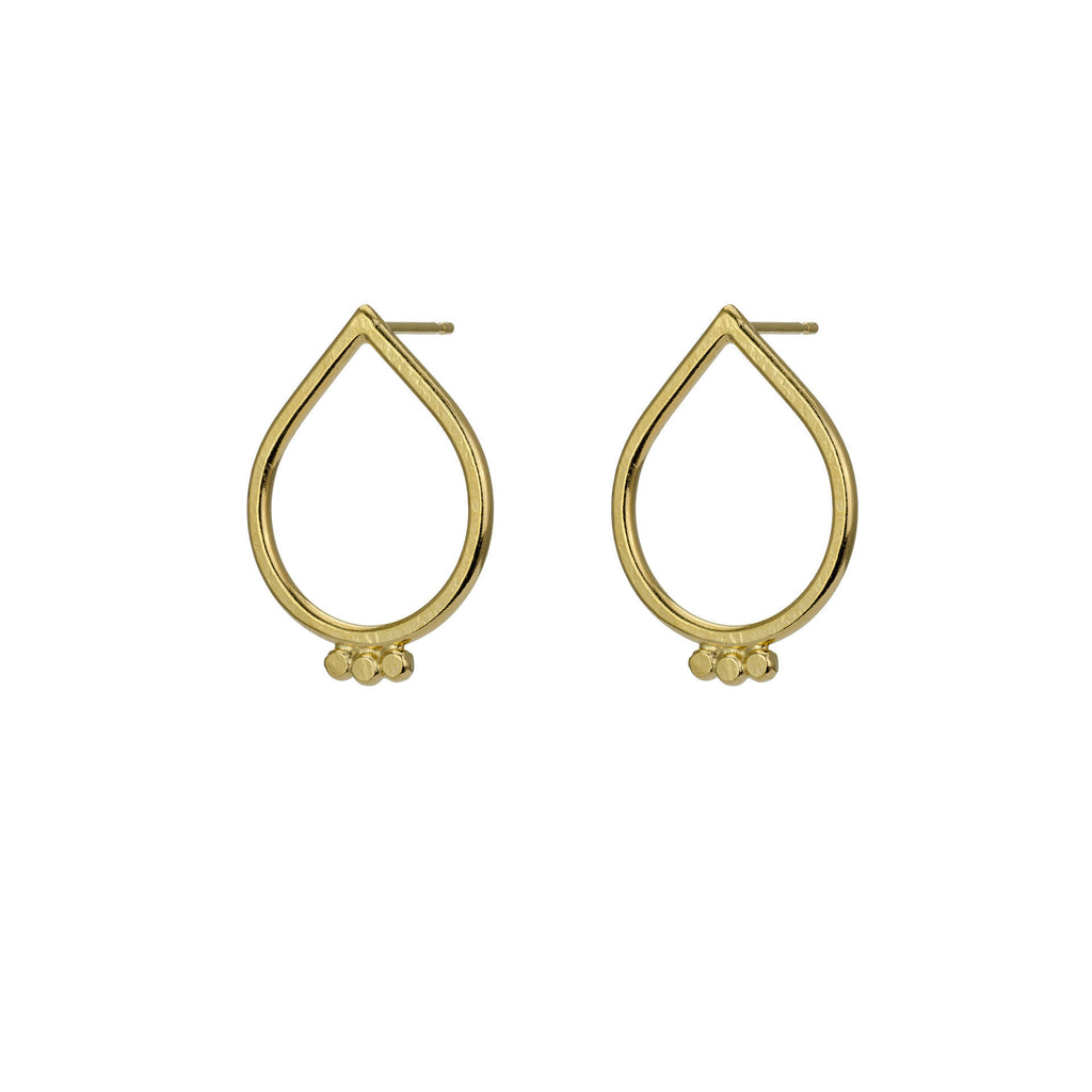 Large Gold Tear Drop Studs