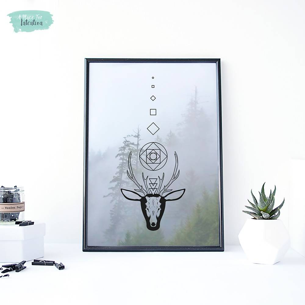 Geometric Forest Stag Illustration Art Print