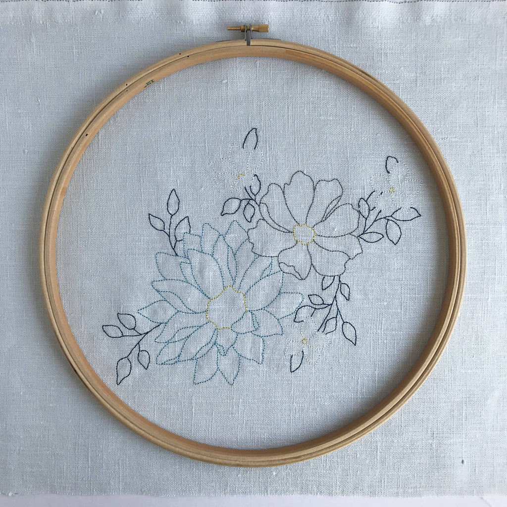 Blue Floral Embroidery Craft Kit