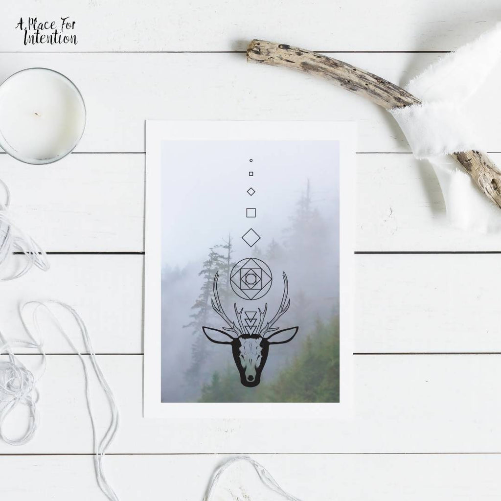 Sacred Forest Stag Illustration Card
