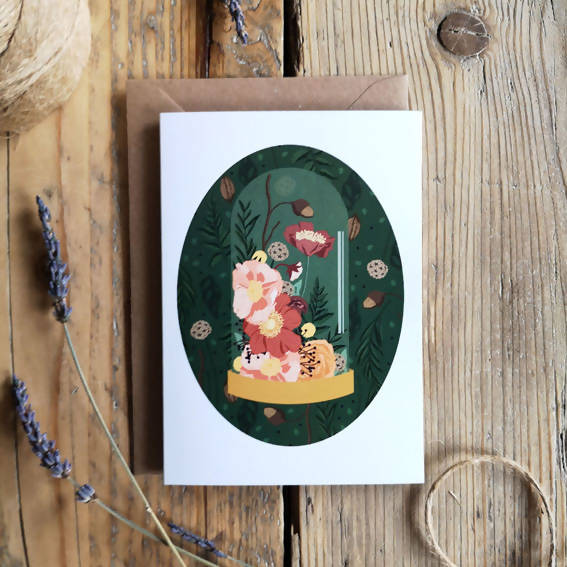 A botanical just because card, new to Wildwood Paper for Autumn Winter. Inspired by a natural history bell jar illustrated with wild flowers.