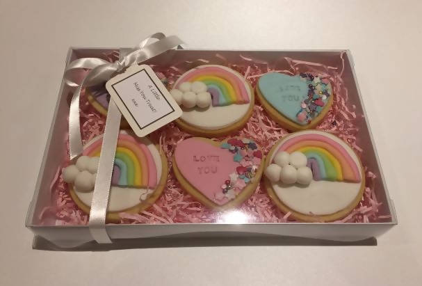 Personalised Rainbow & Heart Biscuits Boxes of 6
