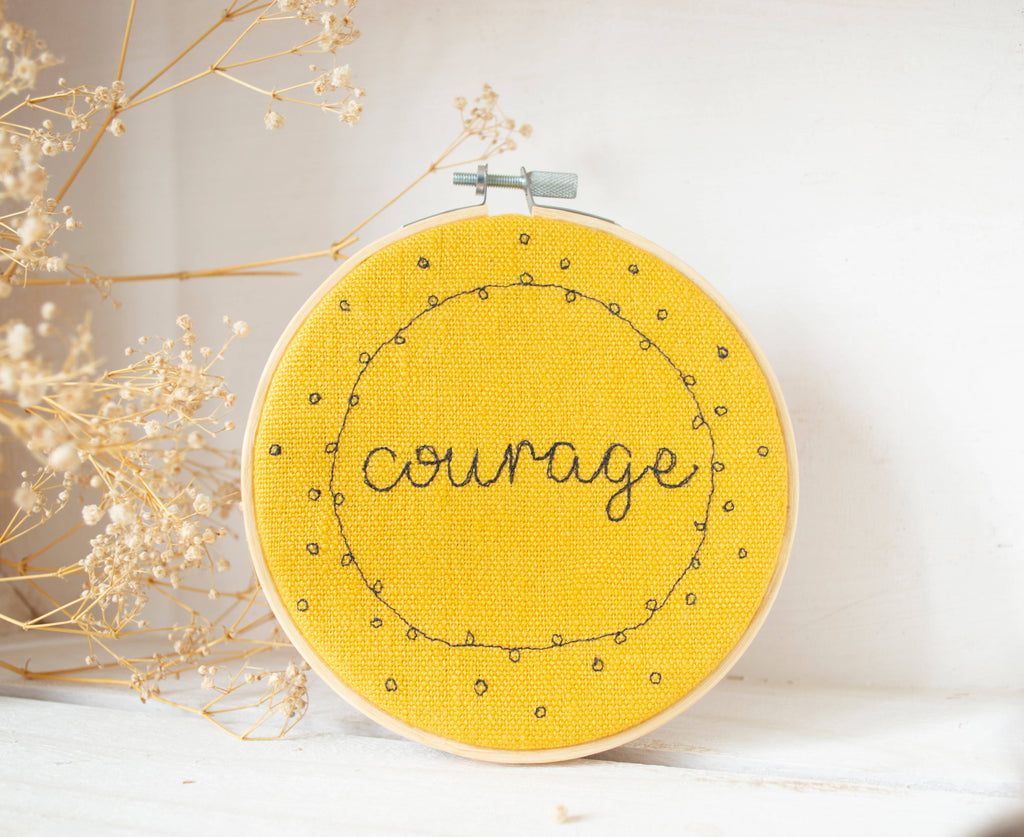 Embroidered Word of the Year 5inch Hoop Wall Art - Linen & Dots