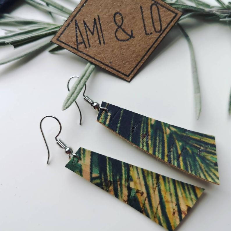Leaf Print Bar shaped Cork Leather Earrings Ami and Lo