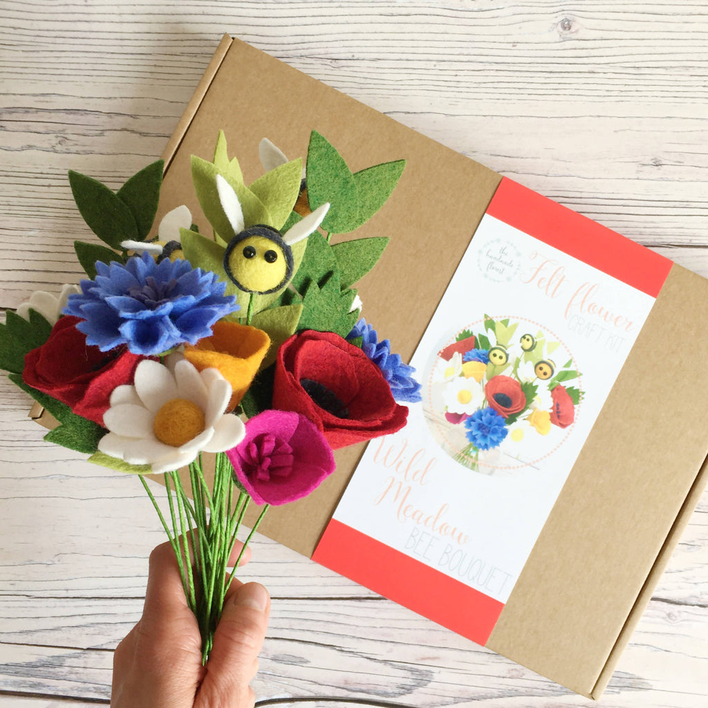 DIY felt flower craft kit: Wild Meadow Bee Bouquet