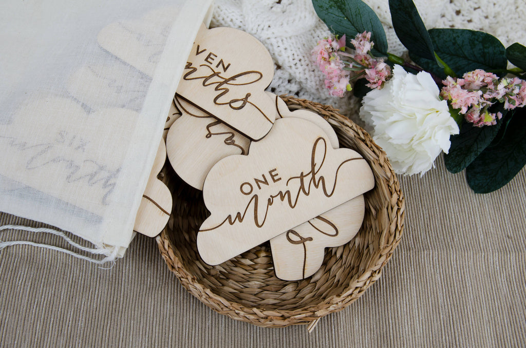 Baby monthly milestone set, cloud 12 month newborn photo prop
