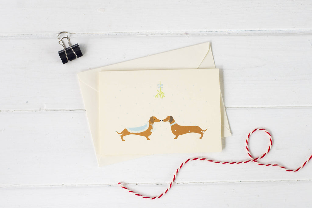 Christmas Mistletoe Dachshund- Christmas card