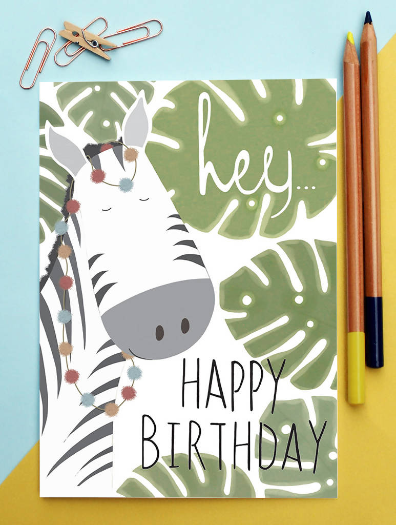 Zebra Birthday Card Plant Funny