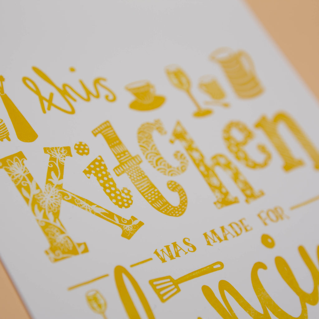This Kitchen was made for Dancing, Illustrated Typography Wall Art Print in Yellow